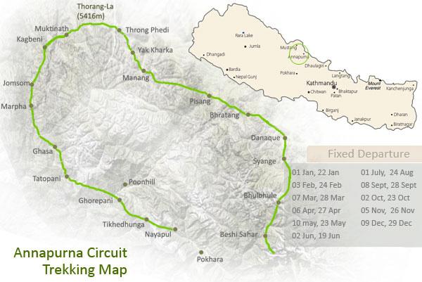 Annapurna Circuit Trekking Trip Map, Route Map