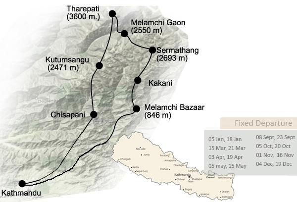 Langtang Helambu Trek Trip Map, Route Map