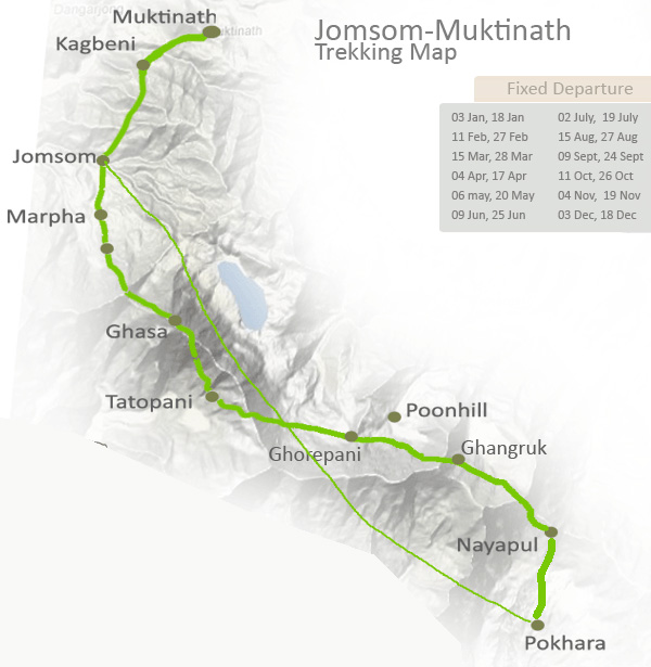 Jomsom to Muktinath Trekking Trip Map, Route Map